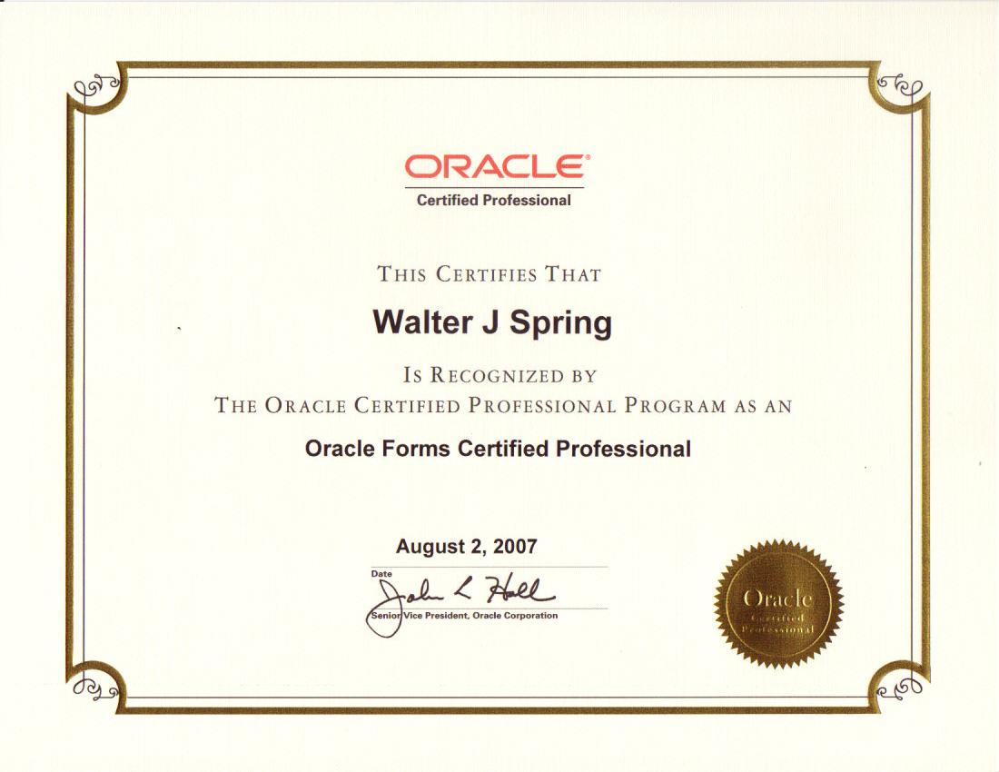 Oracle Forms Certified Professional